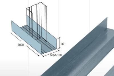 Profil UW pentru perete. Se fixeaza pe tavan / podea
