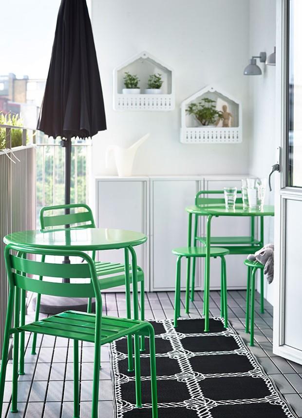 balcon alb verde