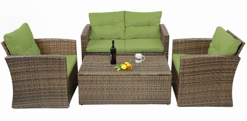 Mobilier de exterior: set de canapea, fotolii si masuta din ratan