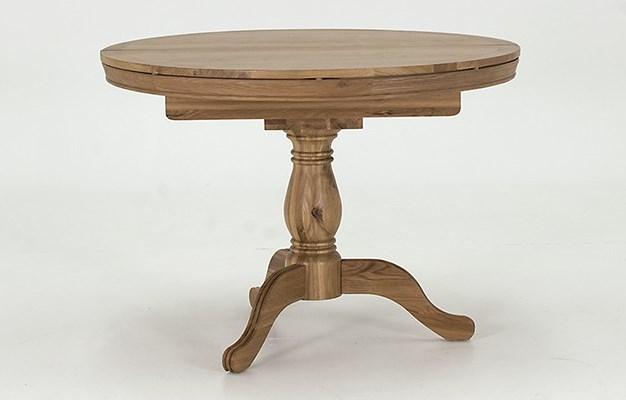 Masa cu piedestal extensibila, din lemn de stejar