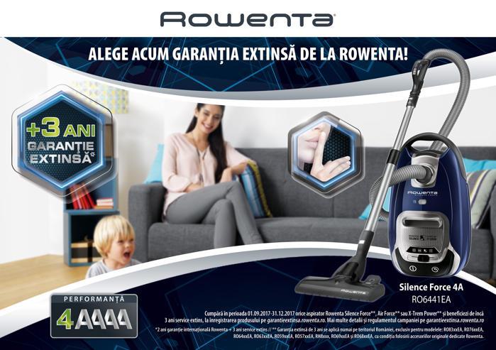 Garanție extinsă la aspiratoarele Rowenta cumpărate până la 31.12.2017