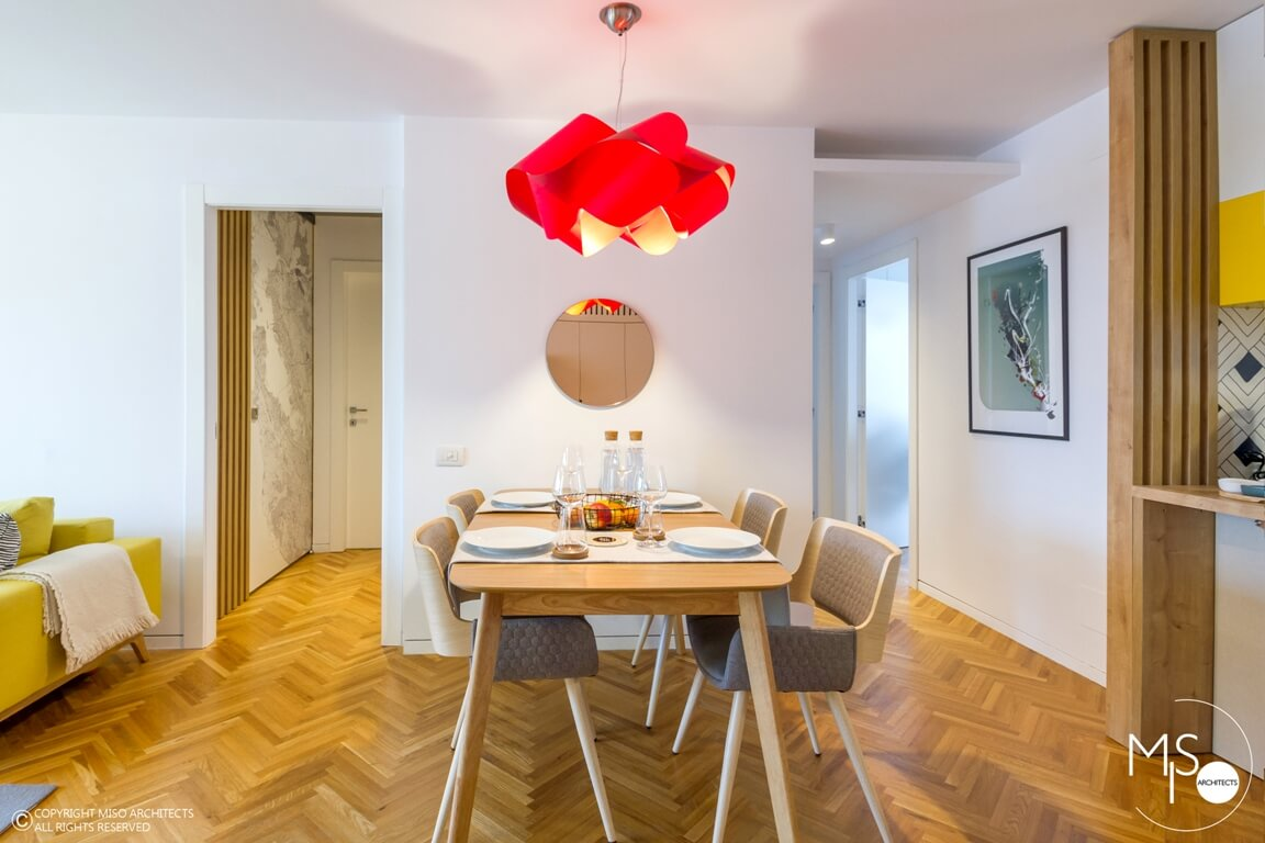 apartament amenajat de MISO Architects - living si bucatarie