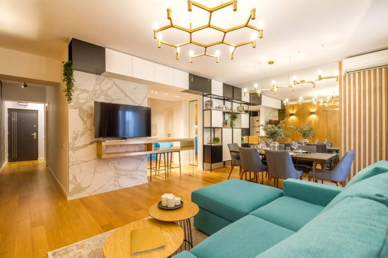 amenajare apartament cu 3 camere living