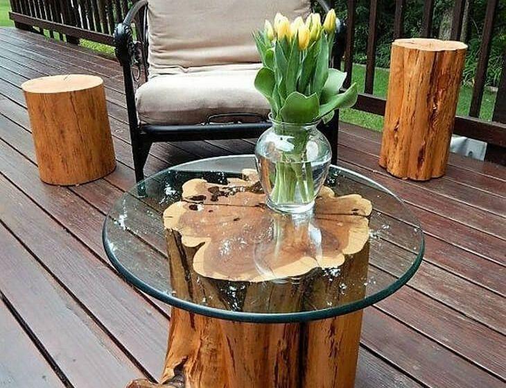mobilier din trunchiuri de copac