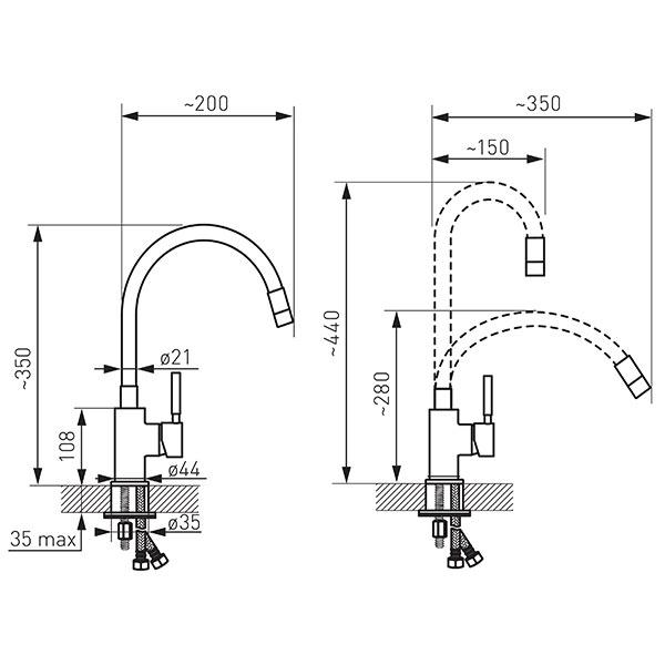baterie bucatarie Ferro gat flexibil